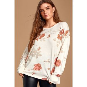 Free People Arielle Floral Print Pullover Medium